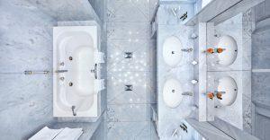 Badezimmer mit Badewanne in der Max Grundig Klinik, Blick von oben