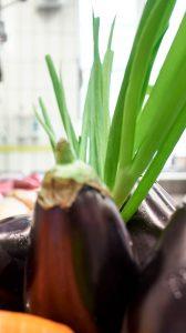 Gemüse mit Auberginen im Vordergrund
