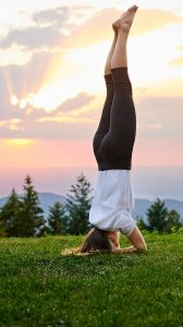 Yoga-Stunde mit Unterarmstand im Sonnenuntergang
