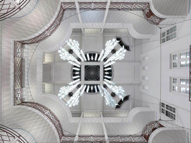 Max Grundig Klinik, Innenansicht im Atrium, Decke
